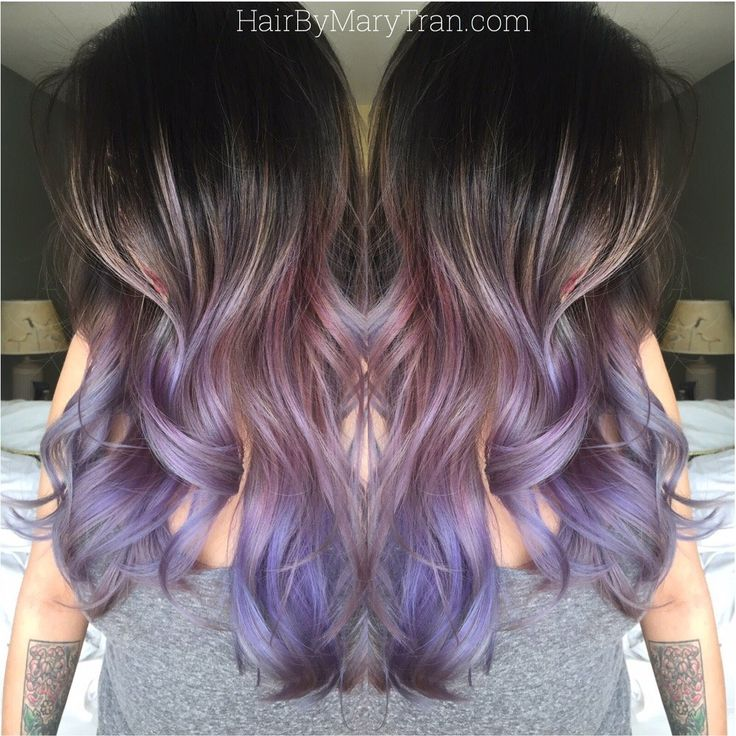 Mary Tran - Santa Monica, CA, United States. Purple Ombre and long layered blended haircut on asian hair.