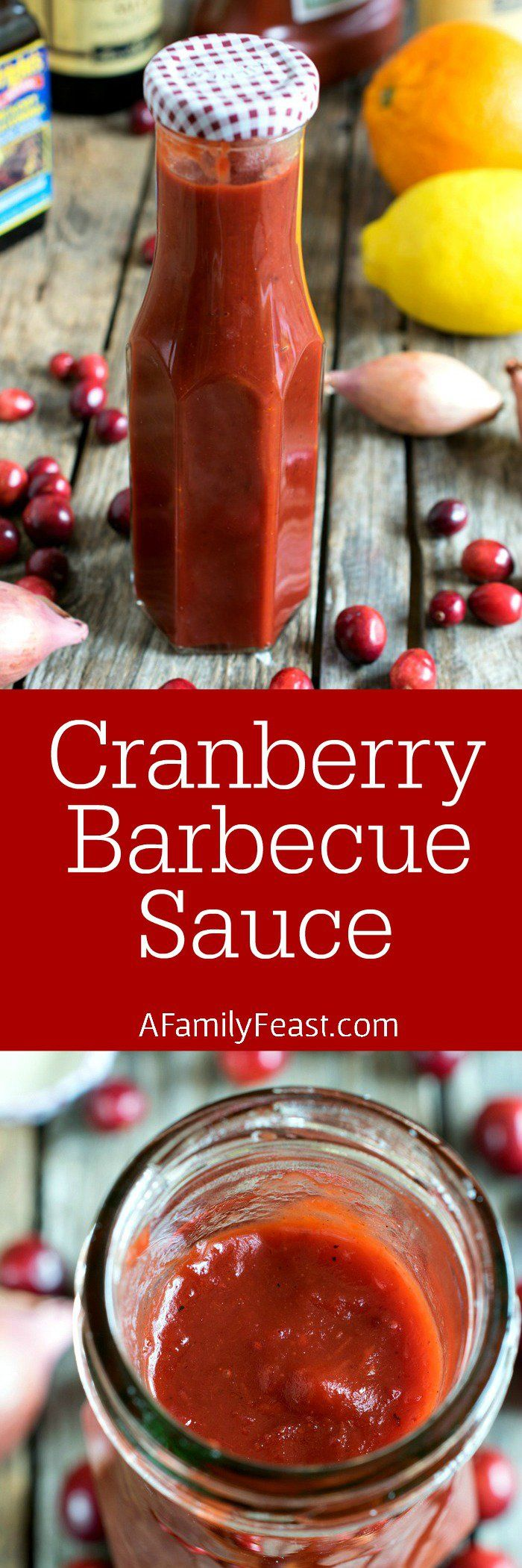 Cranberry Barbecue Sauce - This smoky, tart and sweet sauce is fantastic on pizza or meats. Made with a fresh or frozen cranberries.