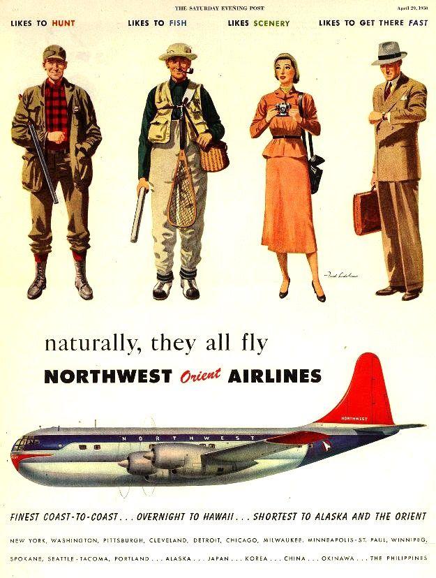 Vintage Northwest Orient Airlines Ad - 1950