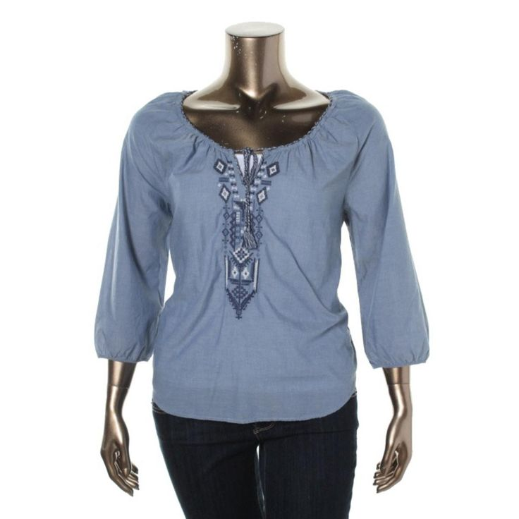 LRL Lauren Jeans Co. Womens Chambray Embroidered Peasant Top
