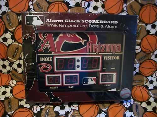LICENSED MLB ALARM CLOCK SCOREBOARD ARIZONA DIAMONDBACKS NIB $32.99: Clocks Scoreboard, Alarm Clocks, Ebay Essential, Licen Mlb, Arizona Diamondback, Mlb Alarm, License Mlb, Scoreboard Arizona, Diamondback Nibs
