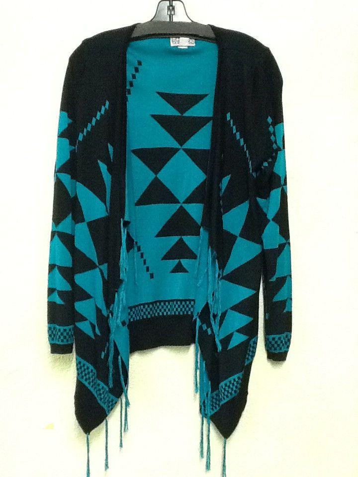 Fringed Black and Turquoise cardigan
