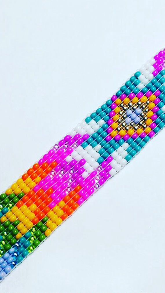 Unicorn Seed Bead Bracelet 20mm wide