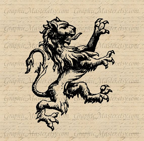 French Royal Lion Knights Crest Instant Download by GraphicMaster, $1.00
