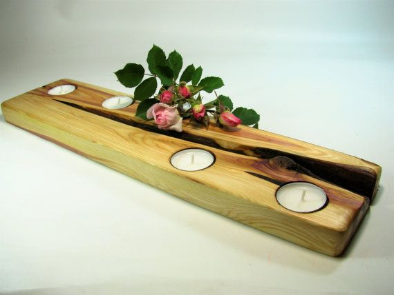Long juniper wood tea light candle holder. Rustic by WoodaCooda