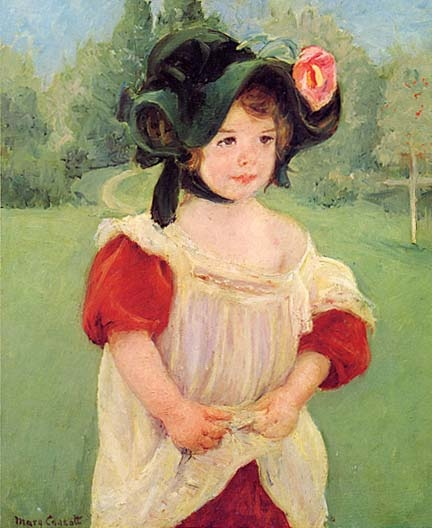 """Spring: Margot Standing in a Garden"" (Fillette dans un jardin), 1900   Oil on canvas.  The Metropolitan Museum of Art   by Mary Cassatt"