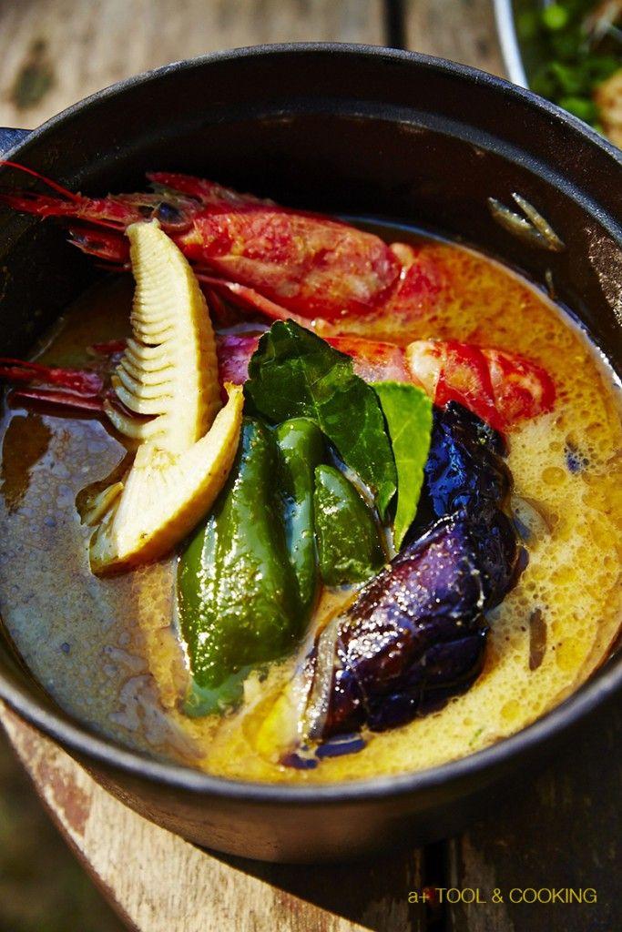 海老と野菜のグリーンカレー|薪ストーブと料理