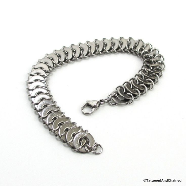 Washer chainmail bracelet, stainless steel jewelry for men or women, washer maille by TattooedAndChained on Etsy https://www.etsy.com/listing/206244516/washer-chainmail-bracelet-stainless