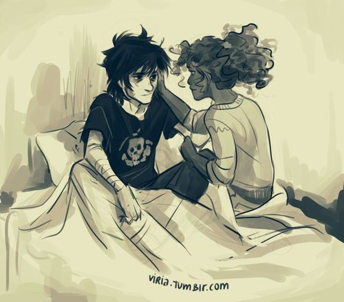 In which Nico totally ends up having very vivid nightmares about Tartarus and the whole aftermath and Hazel is just there for him. Art by viria