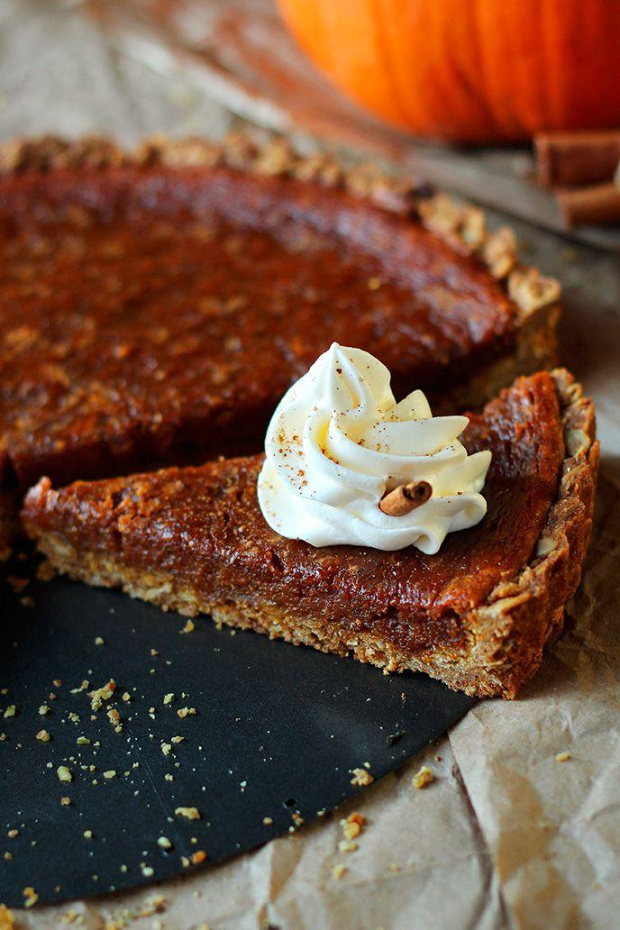 Rustic Vegan Oat Crisp Pumpkin Pie with Coconut Whipped Cream