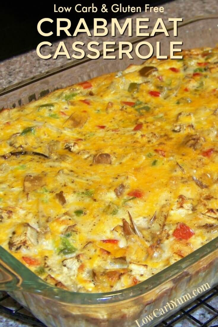 This low carb crab and vegetable crabmeat casserole is similar to a crustless quiche. It can be made with either fresh, canned, or frozen crab meat.   LowCarbYum.com