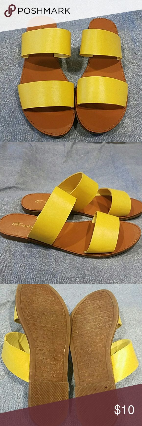 Yellow sandals Super cute,  worn once,  just a tad too big for me. Breckelles Shoes Sandals
