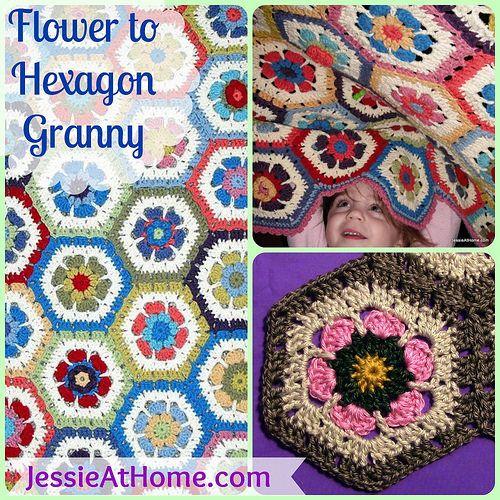 Flower to Hexagon Granny Free Crochet Pattern