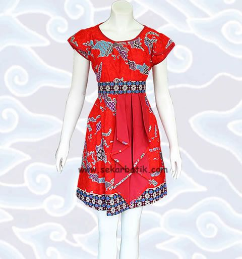 dress batik merah motif kepulauan Indonesia BD45 koleksi http://sekarbatik.com/dress-batik/