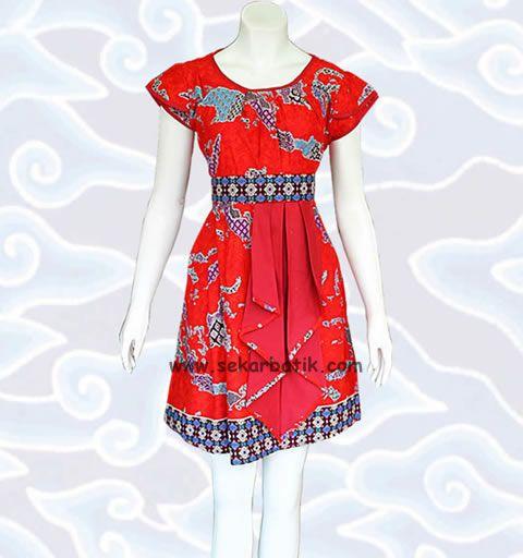 dress batik merah motif kepulauan Indonesia BD45 koleksi http://sekarbatik.com/dress-batik/