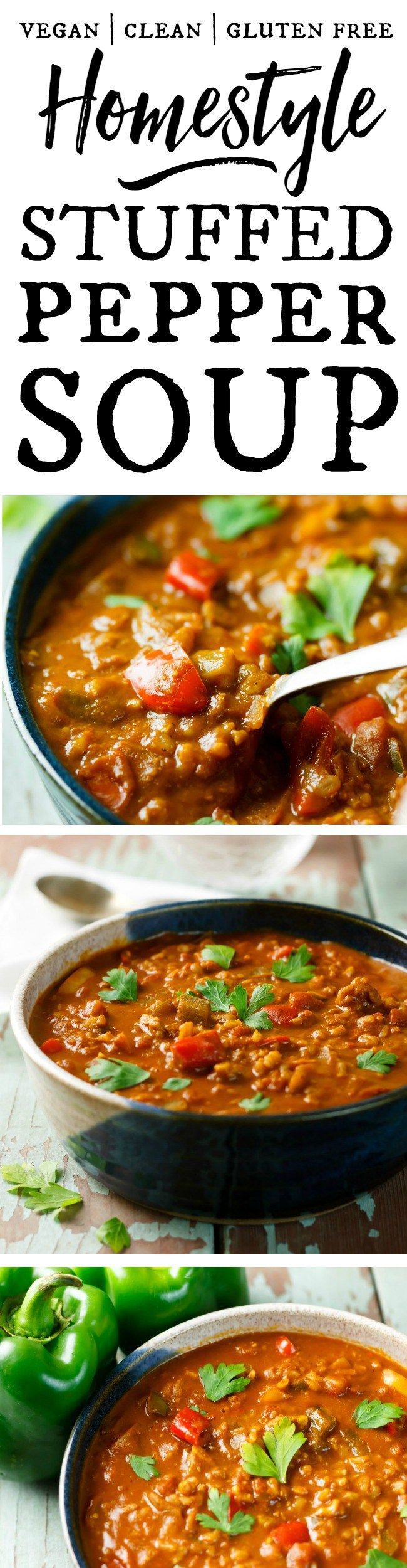 Homestyle Stuffed Pepper Soup - Take the chill off with a big bowl of this amazing stuffed pepper soup. It's easy to make and packed with healthy goodness! Vegan, gluten free, clean ingredients.