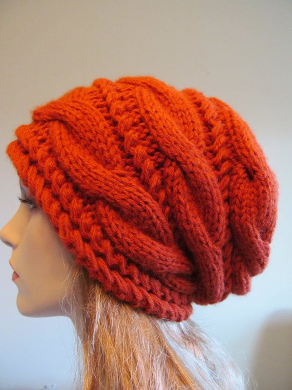 Slouchy Beanie Slouch Hats Oversized Baggy cabled hat womens spring accessory Terracotta Red Hand Made Knit