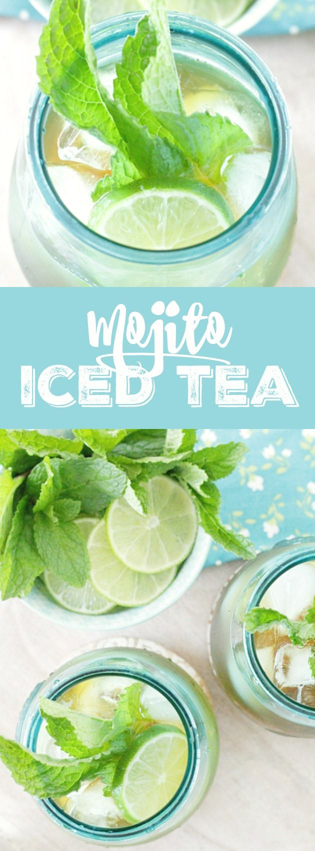 Mojito Iced Tea - brew lime tea, add lime & ice cubes, sweeten. optional: add lime juice. #summer drink recipe, easy