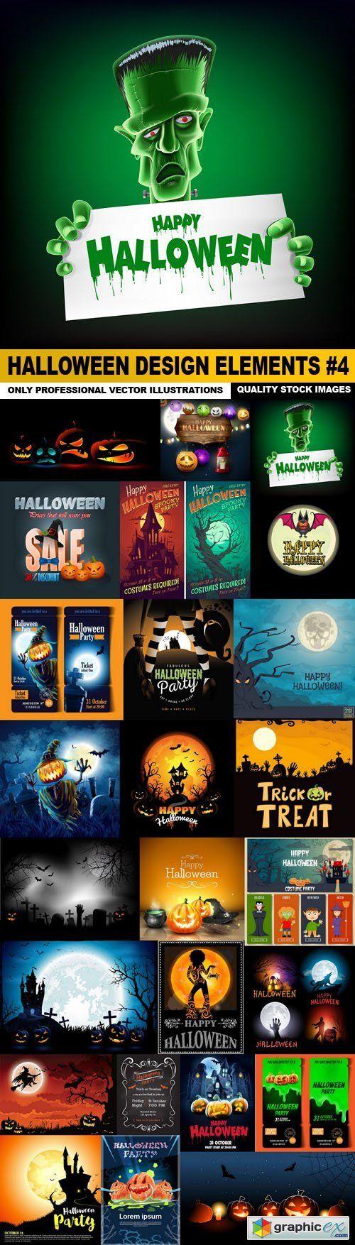 Halloween Design Elements #4 - 25 Vector