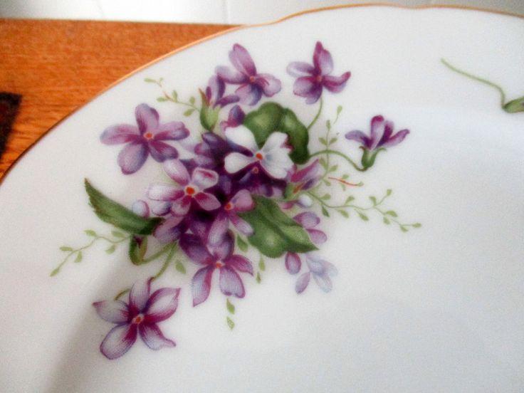 "VTG Occupied Japan Rossetti China Dinnerware Spring Violets 8"" Salad Plate #Nortiake"