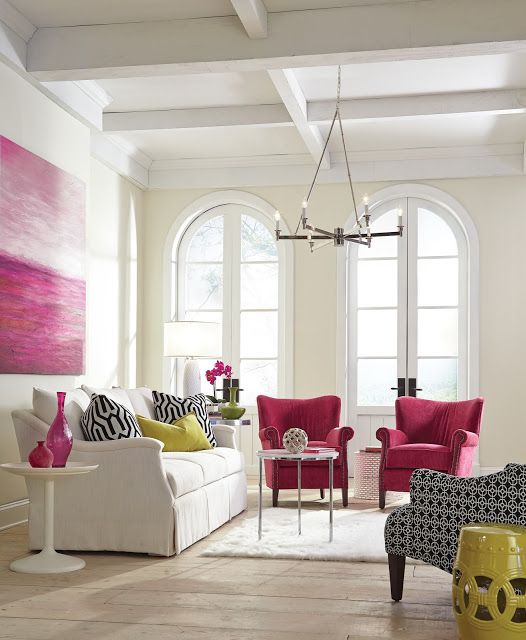 A burst of colorful furniture brightens up any room.  Come see the Design Bloggers Tour at High Point Market featured on Shabbyfufu Blog.