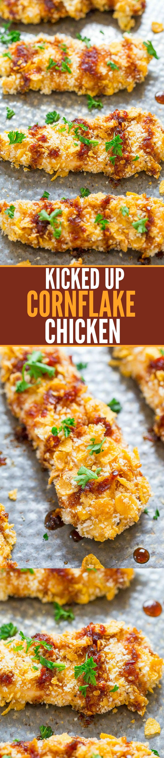 Kicked Up Cornflake Chicken - EASY, ready in 30 minutes, so CRISPY on the outside and tender and juicy inside!! The sauce has the perfect amount of KICK to keep you going back for more!!