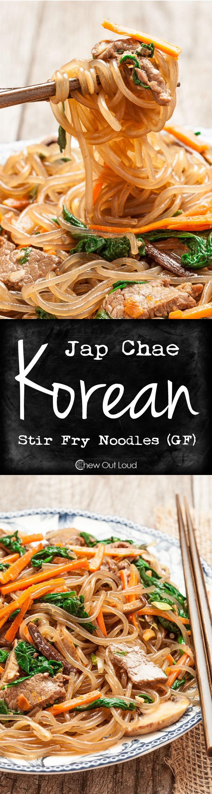 Jap Chae (Korean Stir Fry Noodles - GF) - Healthy, flavorful, chewy, and totally addictive. The first thing to disappear at any potluck. #recipe #asian