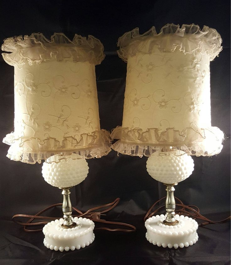 Milk Glass Lamps With Ivory Decorative Shades,Vintage White Hobnail Pattern Lamps,Bedroom Table Lighting Set,Cottage Chic by AllAboutVintageStore on Etsy