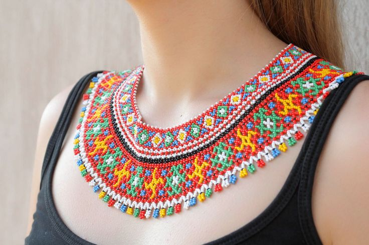 Multicolored beaded necklace by PreciousBeadwork on Etsy https://www.etsy.com/listing/208230944/multicolored-beaded-necklace