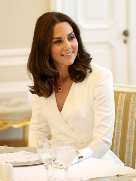 Catherine, Duchess of Cambridge during a reception as the Duchess and Prince William, Duke of Cambridge attend the Presidential Palace on day 1 of their offical visit to Poland on July 17, 2017 in Warsaw, Poland.