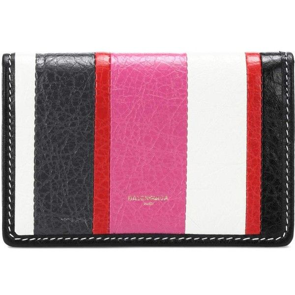 Balenciaga Bazar Striped Leather Wallet (€250) ❤ liked on Polyvore featuring bags, wallets, multicoloured, striped bag, balenciaga, leather bags, balenciaga wallet and pink leather wallet