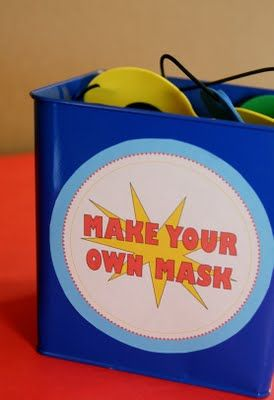 Paperbox Press Parties: Vintage Comic Superhero Birthday Party - the make-a-mask station is an excellent activity and party favor.