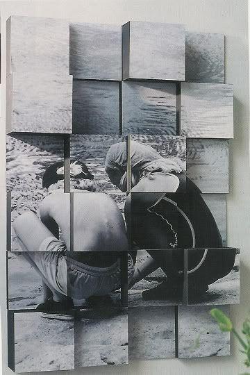 Foto auf verschieden hohen Quadraten