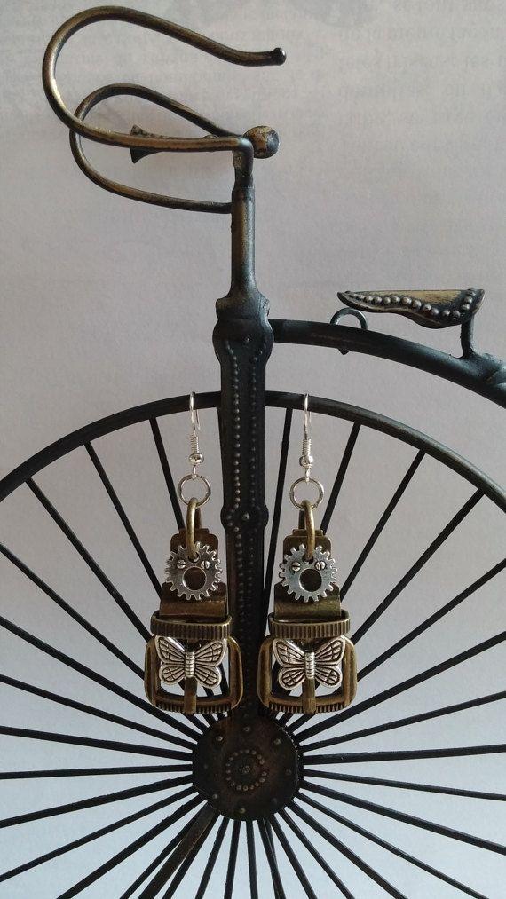 Steampunk Brass Belt Buckle Earrings - FREE U.S. Shipping - by BezelsandBeyond