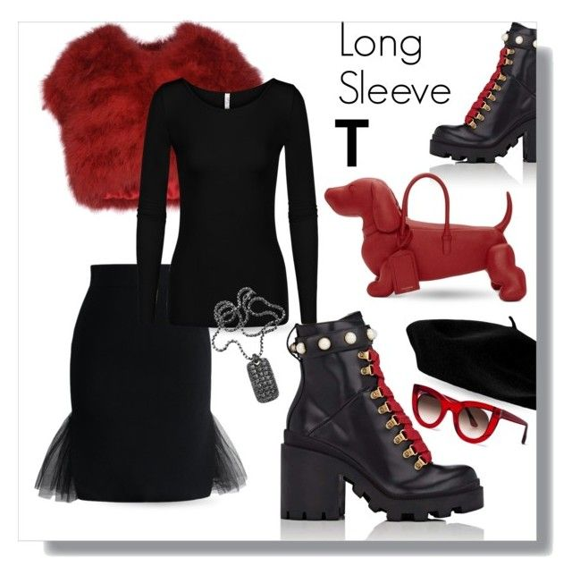 """""""Long Sleeve T"""" by queenofsienna ❤ liked on Polyvore featuring SCERVINO STREET, Chicwish, Gucci, David Yurman, Thom Browne and Thierry Lasry"""