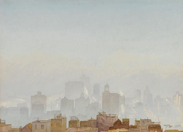 Gunnar Mauritz Widforss (American, 1879-1934) San Francisco in the fog 14 x 19 1/2in overall: 15 x 20 1/2in (Painted in 1925)