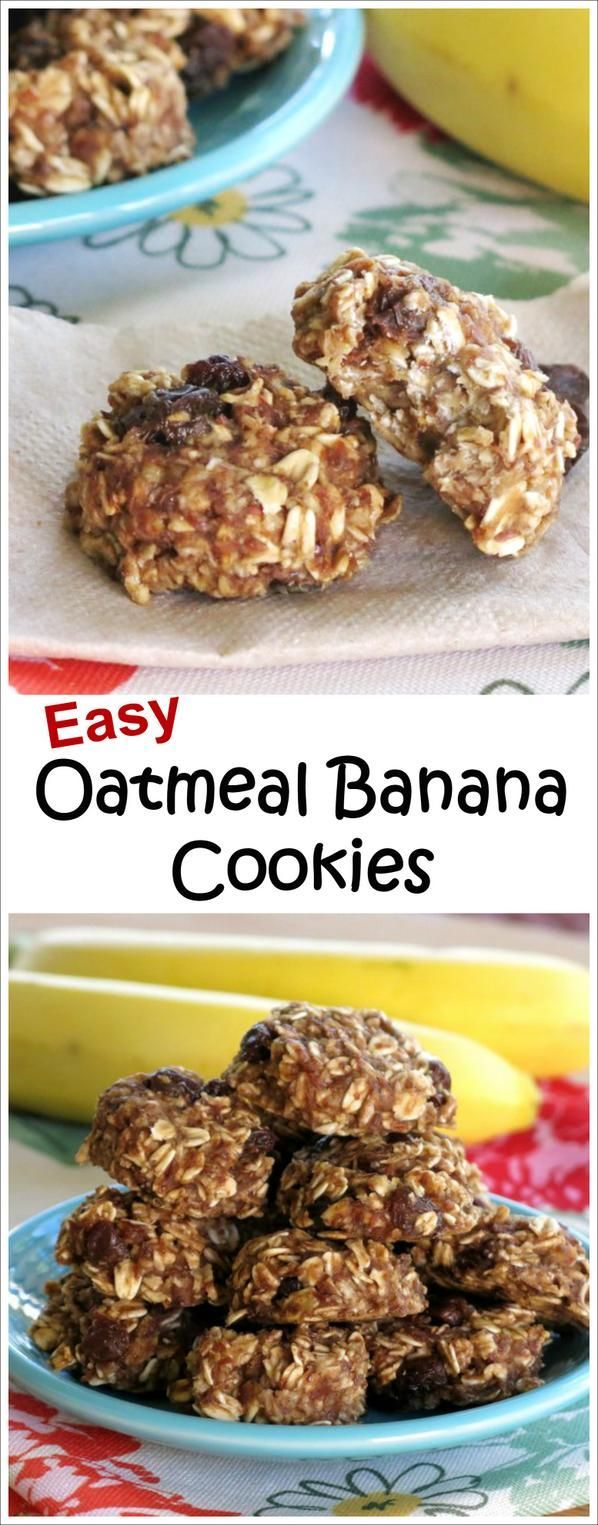 Banana Oatmeal Cookies with Raisins for breakfast or snacking! Easy, healthy, gluten free recipe!