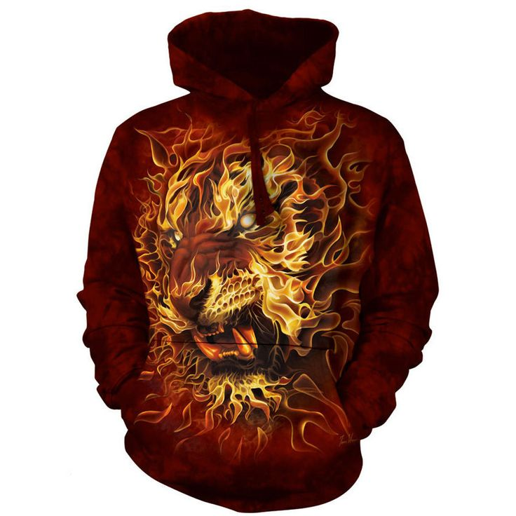 The Mountain FIRE TIGER HOODIE Flaming Big Face Hooded Sweatshirt S-2XL NEW #TheMountain #Hoodie