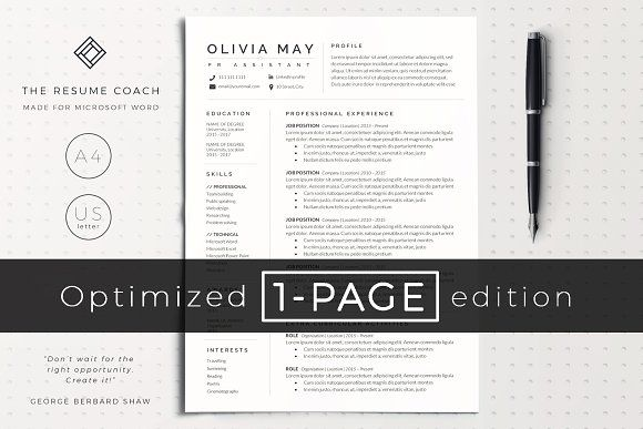 Resume Template Cv By Theresumecoach On Creativemarket One Page Resume Template Resume Tips Resume