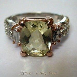 Silver Green Amethsyt Ladies Ring 7US