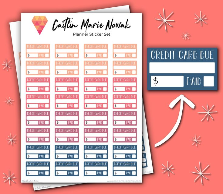 64 ready-to-use multicolored credit card due stickers perfect for Erin Condren & The Happy Planner
