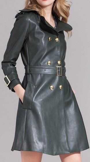 Genuine Leather Belted Trench Coat – DESIGNER INSPIRED FASHIONS