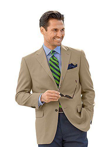 Paul Fredrick Men's 100% Wool Two-Button Travel Blazer British Tan 40 Regular