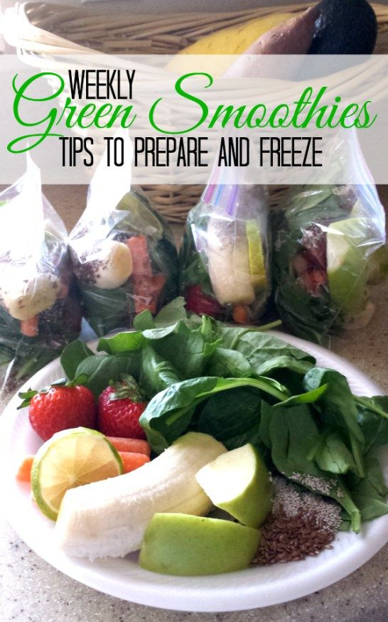 Green Smoothie Freezer Bags   THIS WEEK SMOOTHIES INCLUDED:  Big handful of spinach 2 strawberries 2 slices Granny Smith apple 1/2 overripe banana 4 baby carrots 1 slice lime (no need to peel) 1 T. flax and white chia seeds  add about 1 1/2 cups almond milk and a tablespoon of coconut oil