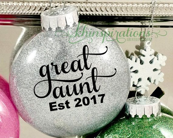 Great Aunt, Great Aunt Gifts, Great Aunt Glitter Ornaments, Christmas Ornaments, Est 2016, 2017, Aunt Ornament, Preganacy Reveal