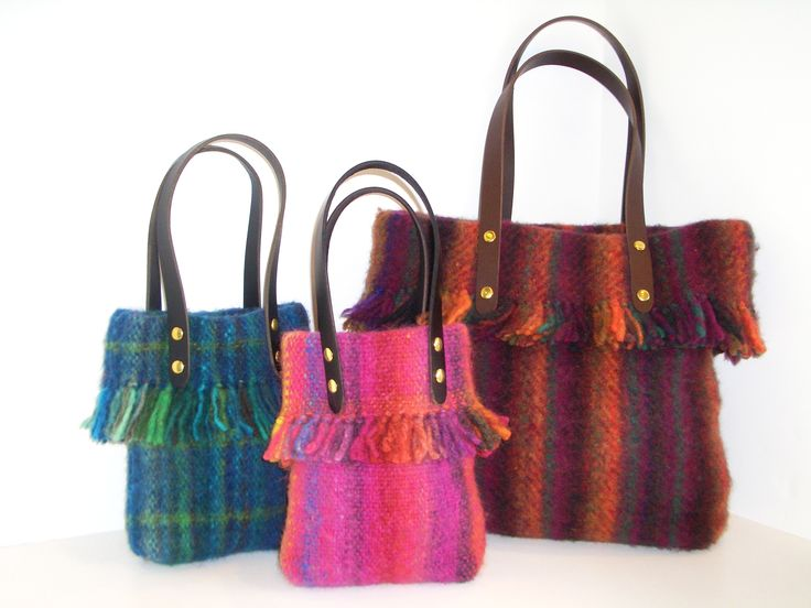 wool  bags woven on the Ashford rigid heddle loom.Pattern and looms available