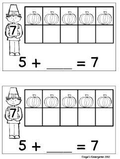 Kroger's Kindergarten: Thanksgiving math freebie