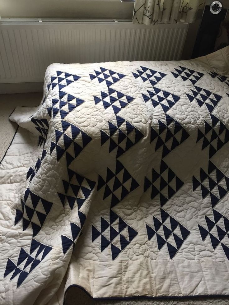 Vintage Graphic Flying Geese Quilt Indigo And White | eBay