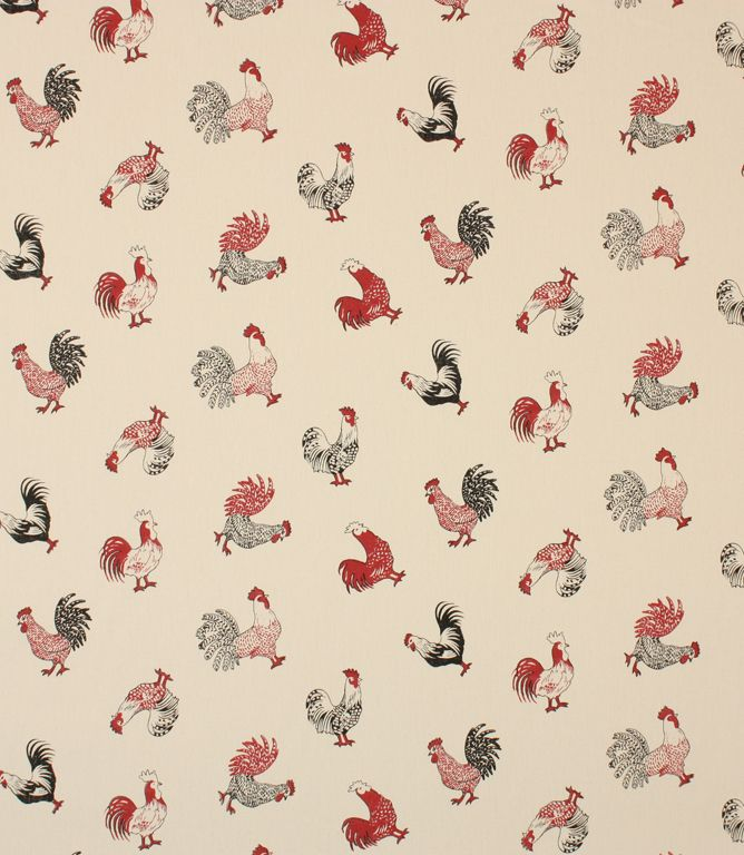Cockerels are scattered all over this fabric. Made from 100% cotton this fabric is suitable for blinds, curtains and cushions and would would look great in a country style kitchen. Buy this fabric online or from one of our curtain fabric shops in Burford, near Oxford and Cheltenham.