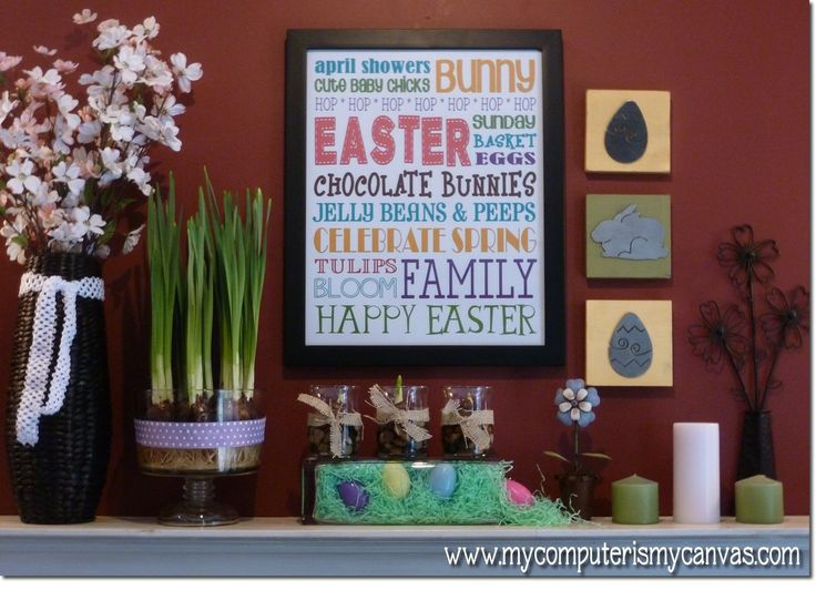 Easter Subway ArtArt Artlov, Decor Ideas, Subway Art, Decorating Ideas, Easter Mantles, Easter Art, Spring East Ideas, Easter Ideas, Easter Subway